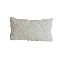 Rose Pattern Decorative Pillow - Small - White