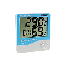 GB HTC-1 Digital Temperature Humidity Meter Alarm Clock Thermometer Hygrometer-Blue