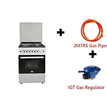 Free Standing Cooker, 4 Gas Burners, Gas Oven - MST60PIAGSL/EM, 60 X 60, With 2M German Technology Gas Pipe and IGT Snap On Compact Low Pressure Regulator - Silver