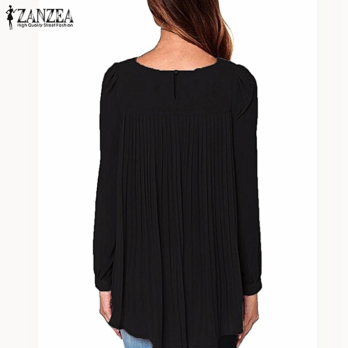 292c1cc83a0 ... ZANZEA Women Long Sleeve Casual Loose Tops Autumn Blouses Oversized  Chiffon Solid Shirts Plus Size Blusas ...