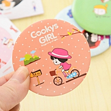 Lovely Cartoon Design Makeup Mirror Compact Round Shape Shatter-Proof Mirror