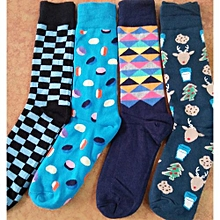 4 Pairs Assorted Happy Socks for Men - Colours may Vary