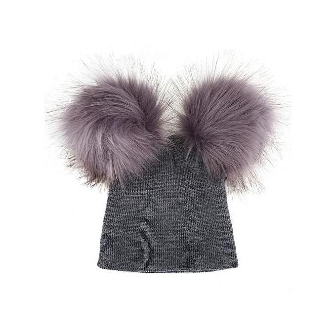 d4eb9803548 Baby Girls Boys Faux Fur Pompom Knitted Cap Children Autumn Winter Warm Hat  ...