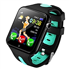 V5K Children Anti-lost GPS Tracker Locator Smart Watch SOS GSM Phone Kid Baby Touch Screen Smartwatch Support SIM For Android IOS(Black+Green)