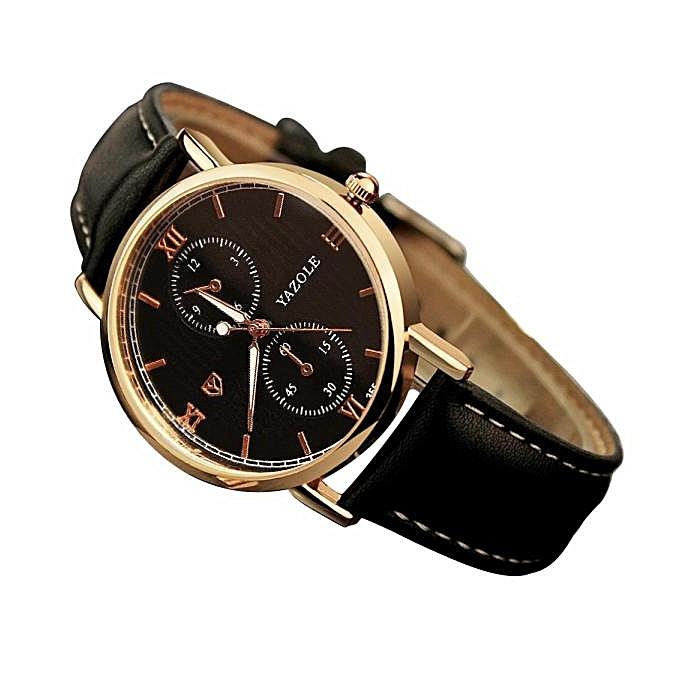 f3b61f6d30e ... Yazole Africashop Watch Luxury Fashion Leather Mens Glass Quartz Analog  Wristwatch Noctilucent Watches-Black