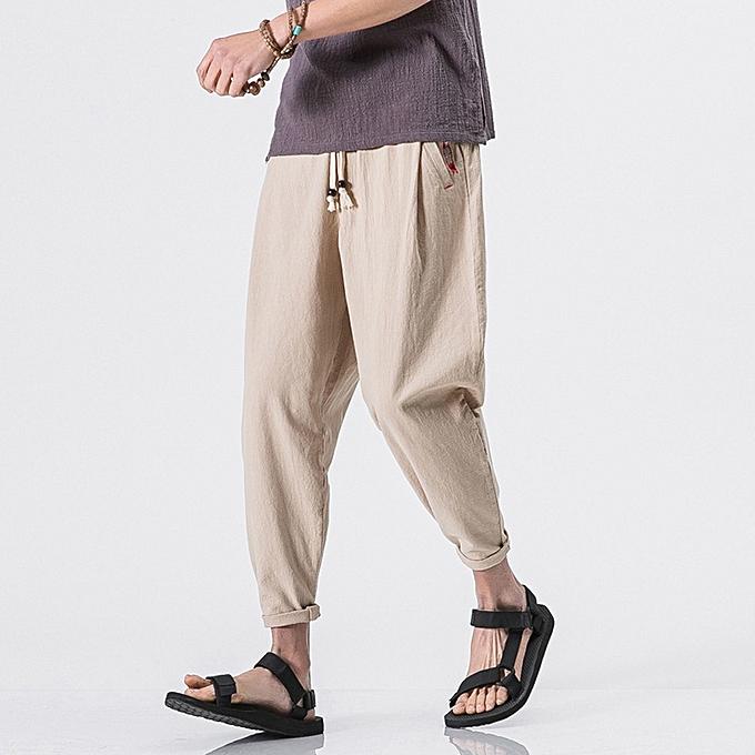 d485a2770b Men's Casual Slim Sports Pants Ankle-Length Linen Trousers Baggy Harem Pants