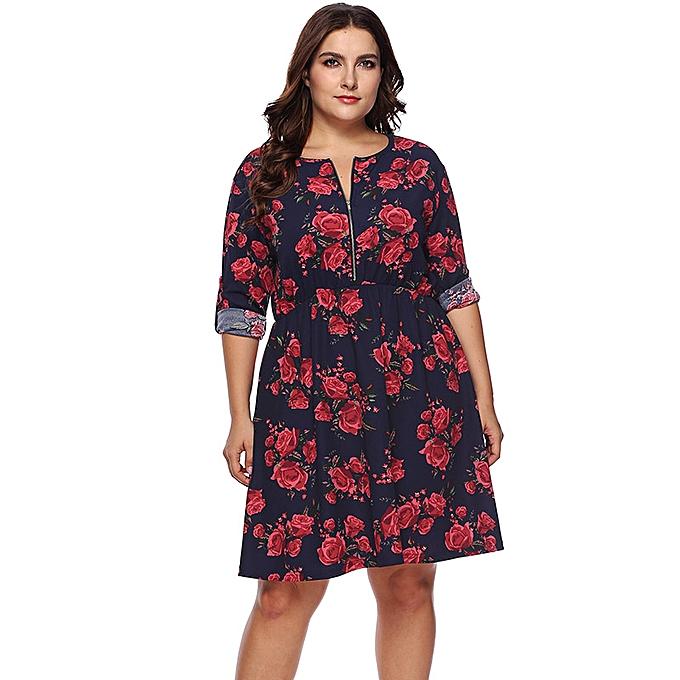7743b4a81 Fashion Women Plus Size Vintage Dress Floral Print Long Sleeve Zip ...