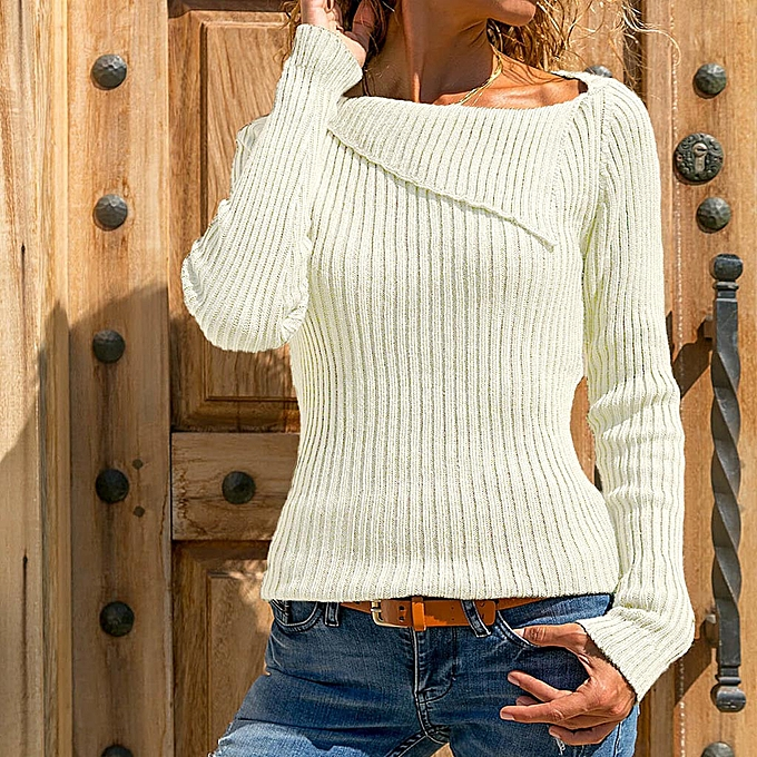 461d1dfd0d huskspo Women Casual Solid Long Sleeve Turn Down Collar Knitting Pullover  Tops Blouse