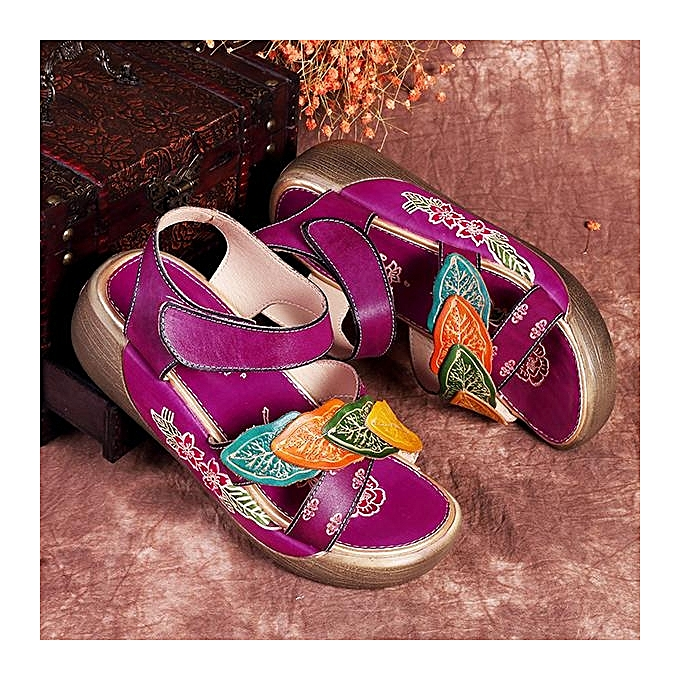 5e78241c74bf6 SOCOFY Retro Women Handmade Genuine Leather Wedge Shoes Summer Flower  Sandals-EU