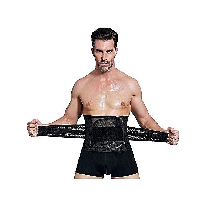 f6b12bab52d45 DM Men Body Shaper Corset Abdomen Tummy Control Waist Trainer Slimming  Belly Belt-black