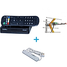 Go TV Digital Decoder - Plus Free Aerial - Plus Free Heavy Duty Power Extension