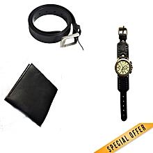 watch + belt + wallet