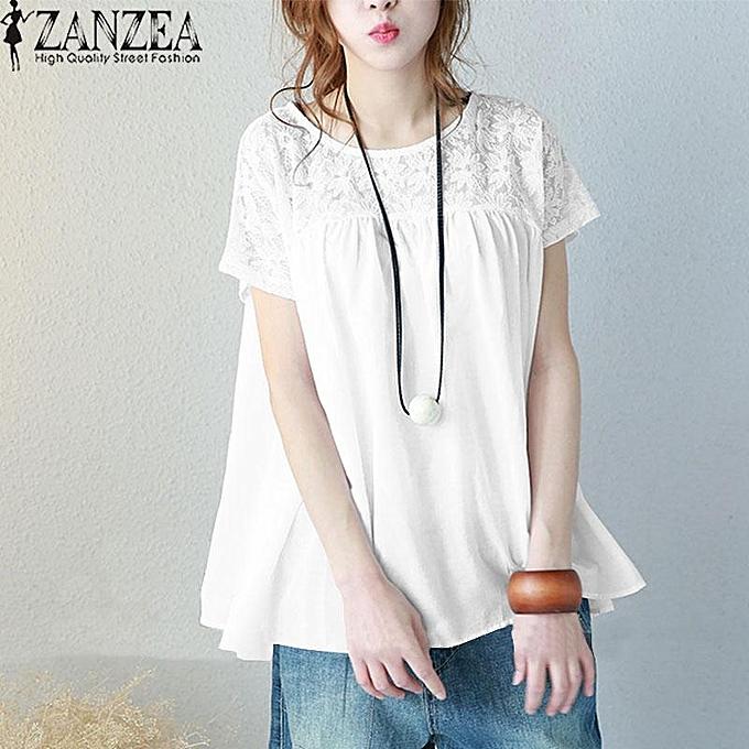 49c9623caa9b5 ZANZEA Women Plus Size Short Sleeve T Shirt Top Loose Crochet Lace Blouse