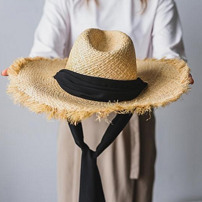 a550f052 Handmade Weave 100%Raffia Sun Hats For Women Black Ribbon Lace Up Large  Brim Straw