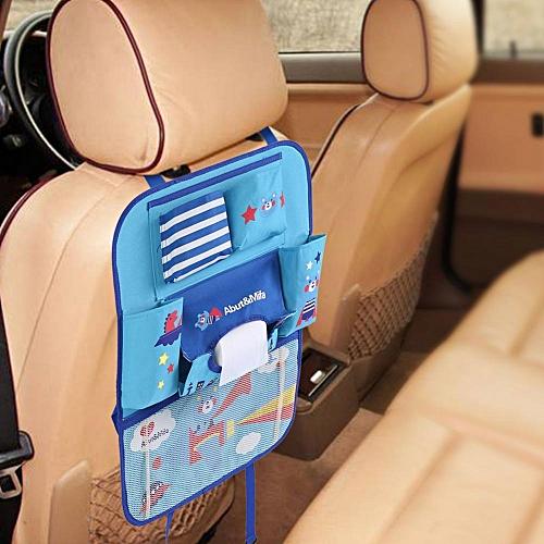 Cute Cartoon Car Seat Back Organizer Storage Bags Hanging Pocket Blue Bear