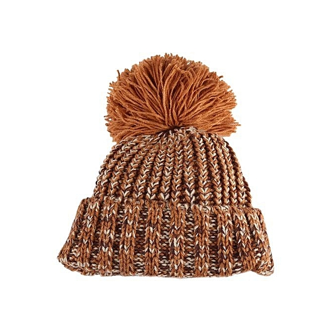 Unisex Pom Pom Child Knitted Hat - Camel ... 4c581ac3226
