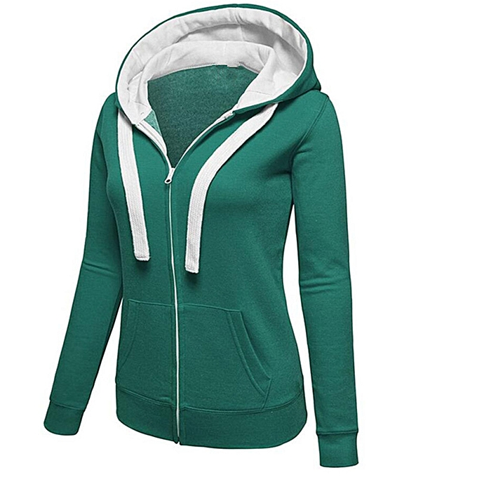 7549dd68924 Womens Warm Hoodies Hoody Sweatershirt Hooded Jumper Pullover Coat Zip  Jacket-Green.