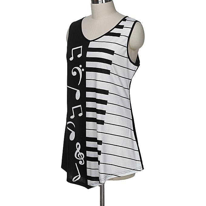69b35ea0c6b ... Hiamok Women Blouse Musical Notes Print Tops Casual Loose sleeveless  Vest T-Shirt ...