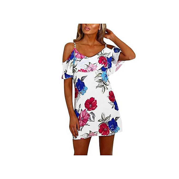8f69b7b8b00c Technologg Dress Women Summer Off Shoulder Chiffon Print Above Knee Mini Dress  Loose Party Dress-