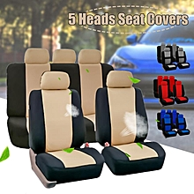 Full Set Car Seat Covers Polyester For Auto Truck SUV 5 Heads Beige