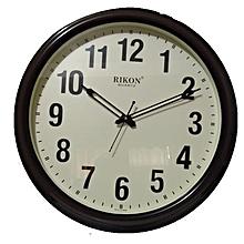 Big Wall clock QUARTZ - ROUND shaped, WOOD IVORY PLASTIC FRAME 1507,  46cms diametre.