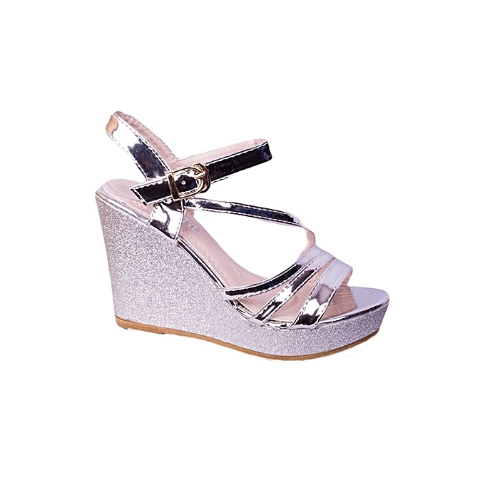 Generic Women s High Platform Wedges Ankle Strap Sandal Shoes-Silver ...