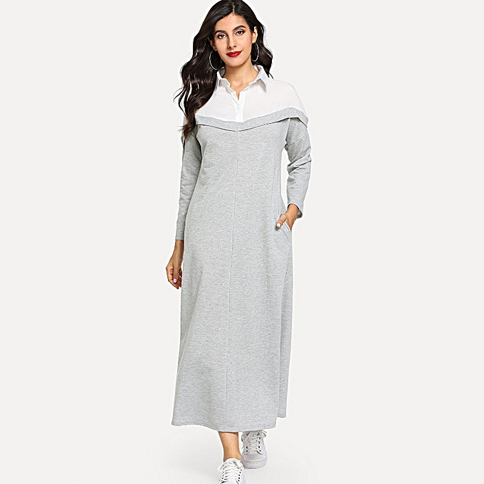 c72573640f paidndh store women's Lapel Long Sleeve Dress Middle Eastern Muslim  Colorblock Maxi Dress-Gray