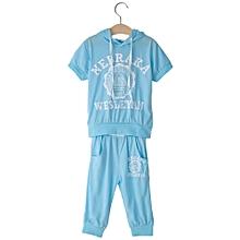 Boys Print Kids Sport Suit - Light Blue