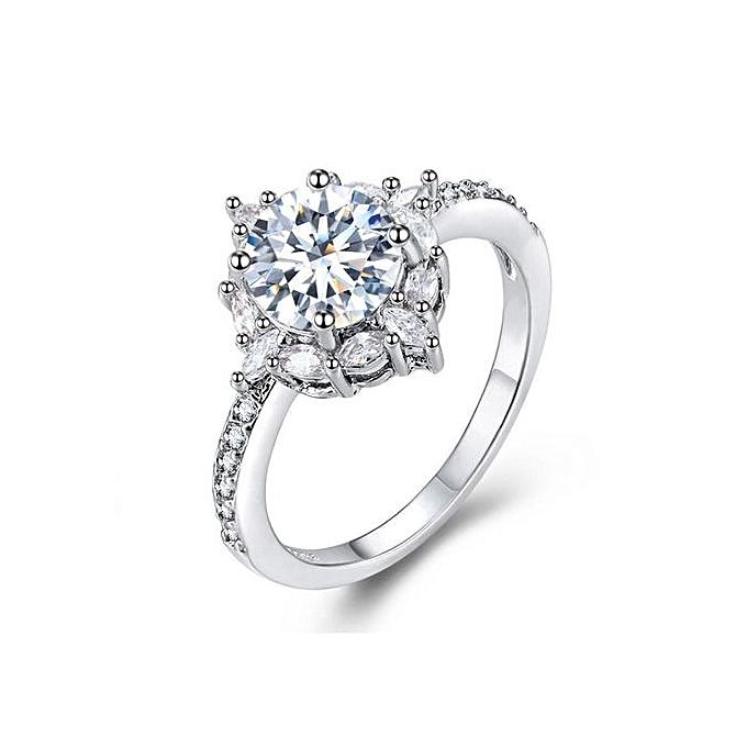 Birthstone Wedding Rings | Buy Generic Natural Silver Gemstone White Sapphire Birthstone Bride