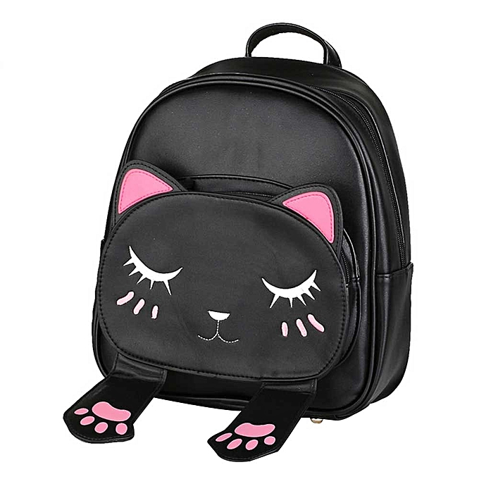 7f04c3557f8 jiuhap store Cute Cat Backpack School Women Backpacks for Teenage Girls  -black
