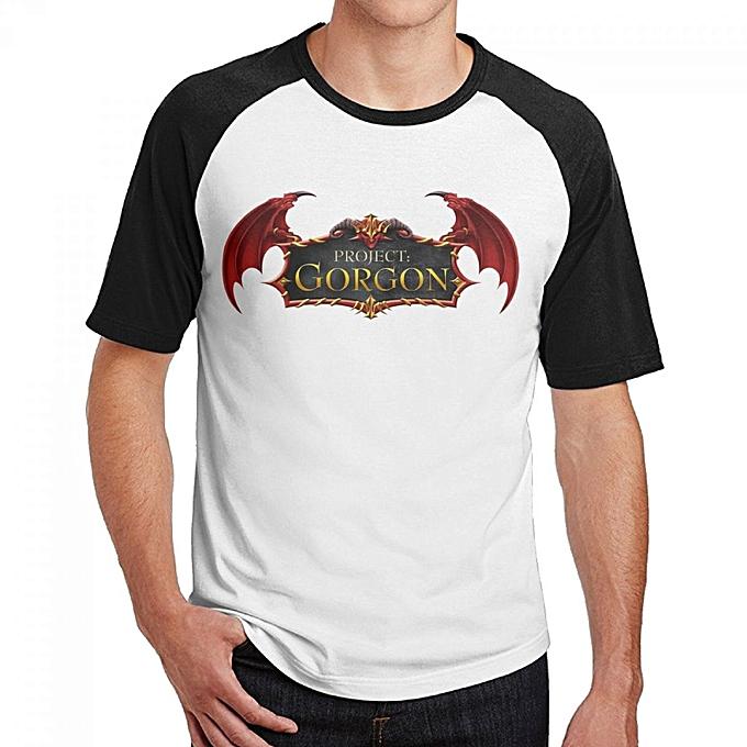 Project Gorgon Game Logo Men's Cotton Short Baseball Raglan Sleeves T-Shirt  Black