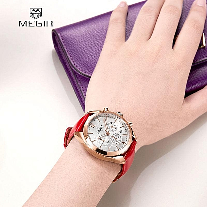 894303416c1 MEGIR Woman Watch Female Quartz Watches Lady Fashion Leather Strap  Waterproof Wristwatch Relogio Feminino 2115