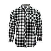 Plaid Long Sleeve Shirt - White & Black
