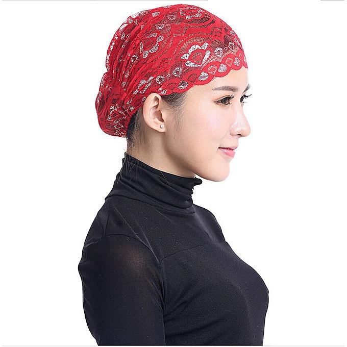 f1c799b0896cc Wenrenmok Store Women Hijab Hat Lace Ninja Underscarf Head Islamic Cover Bonnet  Cap Scarf Muslim-