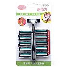 Men's Manual Razor Double-layer Shaving Razor 1 Handle 10 Blade Set Tool