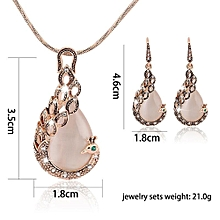 KaLaiXing Pearl Necklace Bride Diamond Jewelry Sets. Necklace Earrings Diamond Water Droplets Elegant Women Jewellery Set of Crystal Pendant Necklace+Earrings-XL01