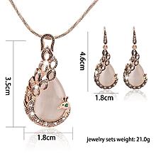 KaLaiXing Pearl Necklace Bride Diamond Jewelry Sets. Necklace Earrings Diamond Water Droplets Elegant Women Jewellery Set of Crystal Pendant Necklace+Earrings-XL01