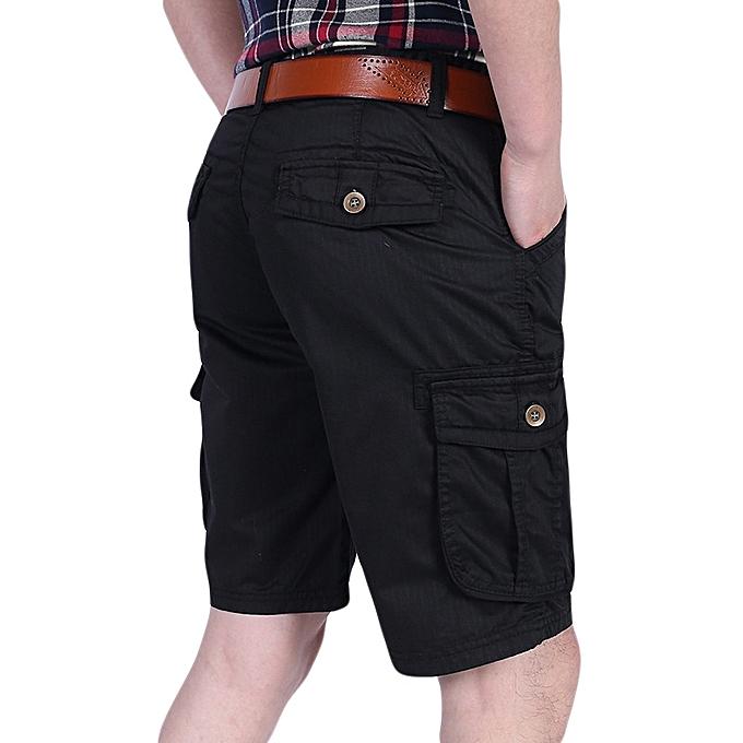 a77888c63b Fashion Mens 100% Cotton Multi-pocket Knee-Length Cargo Pants Loose Outdoor  Casual Shorts