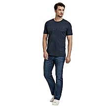 Navy Blue Standard Short Sleeve Male T-Shirt