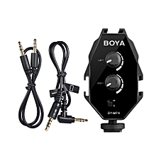 BOYA BY-MP4 2-channel Audio Adapter with Mono Stereo Switch for  Nikon Sony Panasonic DSLR Camera Camcorder for iPhone Samsung Smartphone