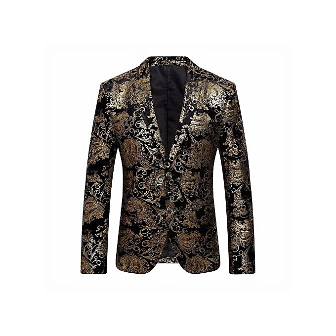 3a72d17156997 Men's Dress Floral Suit Notched Lapel Slim Fit Stylish Blazer Coat Jacket