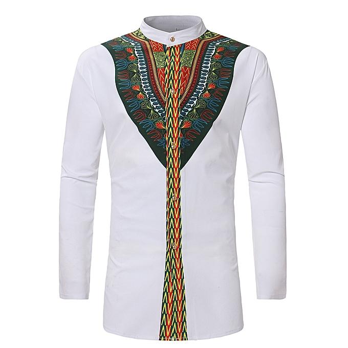 7753975a243 Men African Dashiki Long Shirt Ankara Style - White