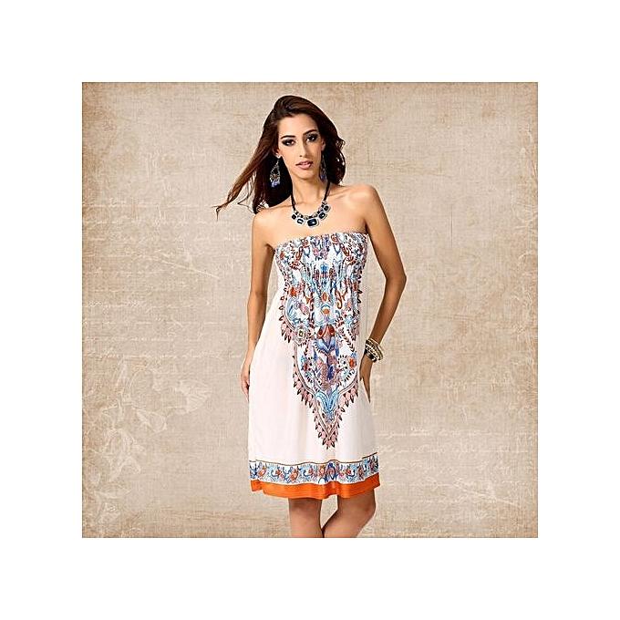 4c8f8e3615 Sexy Summer Dress Vintage Bohemian Vestidos De Festa European Style Beach  Print Harajuku Mujer Fashion Women