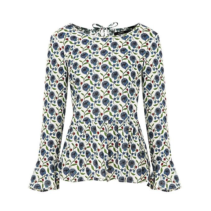 3245f72e04fbc Fashion Women s Loose Ruffle Hem Peplum Short Sleeve Blouse Top ...