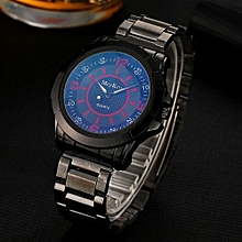 McyKcy Fashionable Male Simple Stainless Steel Analog Quartz Wrist Watch D-Multicolor