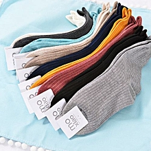 Women's Classic Fashion Candy Solid Color Double KnitEdge Roll Ankle HighSocks Color:Blue Size:F