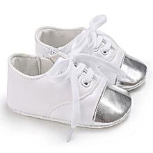 bluerdream-Baby Infant Kids Girl Boys Soft Sole Crib Toddler Newborn Shoes-White