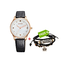 Ladies Wrist Watch Black - Free Bracelet