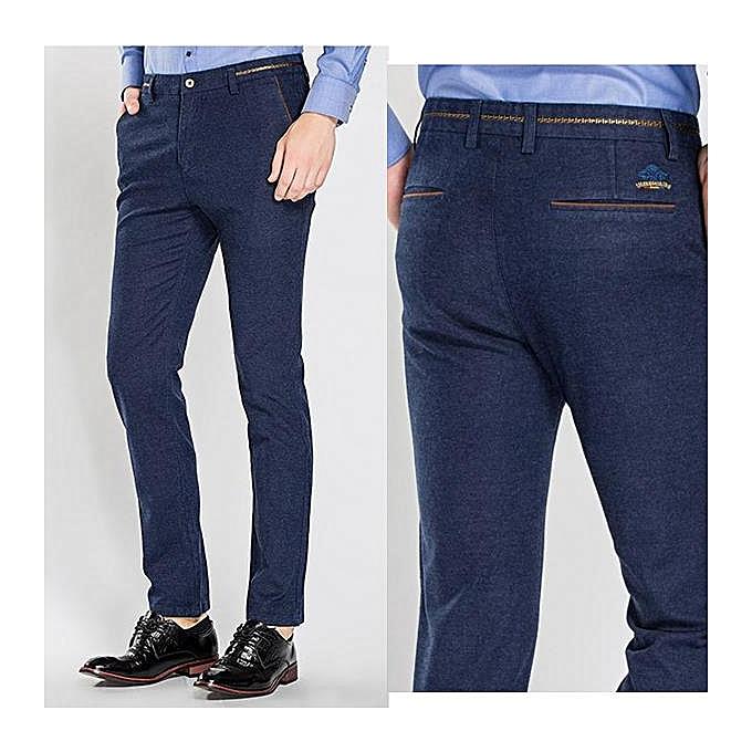 d433c9150de Autumn Winter Men s Casual Sanding Stretch Straight Slim Pants Business  Casual Dress Suit Pants
