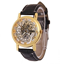 2016 New Hot Sale Skeleton Hollow Fashion Mechanical Hand Wind Men Luxury Male Business Leather Strap Wrist Watch CLASSIC (Gold)